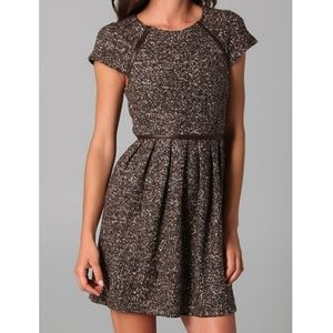 Tibi tweed fit and flare mini dress brown size 2